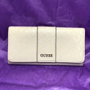 Guess Logo Embossed White Clutch